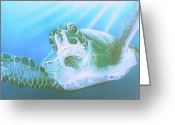 Reptiles Painting Greeting Cards - Green Sea Turtle Greeting Card by Endangered Art