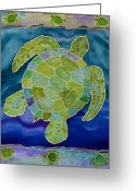 Spiral Tapestries - Textiles Greeting Cards - Green Sea Turtle Silk Painting Greeting Card by PattyMara Gourley