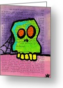 Lime Drawings Greeting Cards - Green Skull Greeting Card by Jera Sky