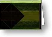 Lines Greeting Cards - Green Square Greeting Card by Irina  March