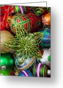 25th Greeting Cards - Green star Christmas ornament Greeting Card by Garry Gay