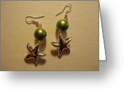 Earrings Jewelry Greeting Cards - Green Starfish Earrings Greeting Card by Jenna Green