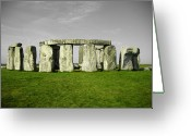 Sacrificial Greeting Cards - Green Stonehenge Greeting Card by Kamil Swiatek