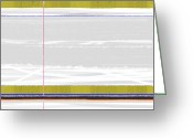 Dwell Greeting Cards - Green Strip Greeting Card by Irina  March