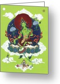 Mantrayana Greeting Cards - Green Tara Greeting Card by Carmen Mensink