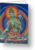 Buddha Pastels Greeting Cards - Green Tara Greeting Card by Sue Halstenberg