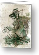 Women Greeting Cards - Green Tea Greeting Card by Brian Kesinger