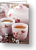 Teacup Greeting Cards - Green tea set Greeting Card by Elena Elisseeva