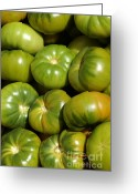 Food And Beverage Greeting Cards - Green Tomatoes Greeting Card by Frank Tschakert