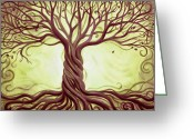 Tree Limbs Greeting Cards - Green Tree of Life Greeting Card by Renee Womack