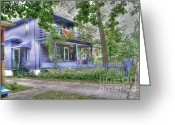 Purple House Greeting Cards - Green trim gaudy-otherwise understated Greeting Card by David Bearden