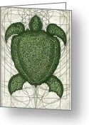 Sea Life Mixed Media Greeting Cards - Green Turtle Greeting Card by Charles Harden