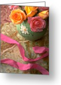 Pink Ribbon Greeting Cards - Green vase with roses Greeting Card by Garry Gay