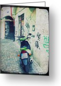 Urban Mixed Media Greeting Cards - Green Vespa in Prague Greeting Card by Linda Woods