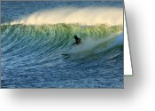 Surf Lifestyle Greeting Cards - Green Wall Surfer Greeting Card by Mike Coverdale
