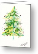 Holiday Notecard Greeting Cards - Green Watercolor Christmas Tree Greeting Card by Michele Hollister - for Nancy Asbell
