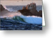 Spume Greeting Cards - Green Waves Pastel Greeting Card by Stefan Kuhn
