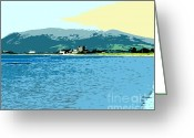Beach Scenery Mixed Media Greeting Cards - Greencastle By The Sea Greeting Card by Patrick J Murphy