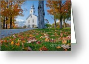 October Greeting Cards - Greenfield Church Greeting Card by Susan Cole Kelly