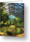 Gardeners Greeting Cards - Greenhouse - Paradise under glass  Greeting Card by Mike Savad