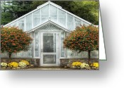 Gardeners Greeting Cards - Greenhouse - The Green House Door Greeting Card by Mike Savad