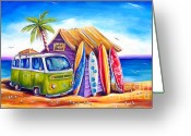 Bus Greeting Cards - Greenie Greeting Card by Deb Broughton