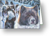 Rage Greeting Cards - Greenland Dog Greeting Card by Lee Ann Shepard