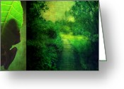 Aimelle Prints Digital Art Greeting Cards - Greens Greeting Card by Aimelle