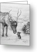 Rudolph Drawings Greeting Cards - Greetings of the Season Greeting Card by Roy Kaelin