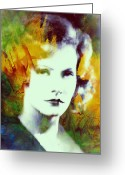 Facet Greeting Cards - Greta Garbo Abstract Pop Art Greeting Card by Stefan Kuhn