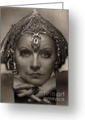 Graphite Mixed Media Greeting Cards - Greta Garbo Greeting Card by Consuelo Venturi