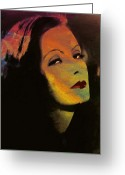 Facet Greeting Cards - Greta Garbo Pop Art Greeting Card by Stefan Kuhn