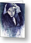 Retro Greeting Cards - Greta Garbo Greeting Card by Yuriy  Shevchuk