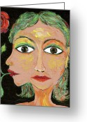 Two-faced Greeting Cards - Greta Greeting Card by Sue Wright