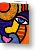 Abstract Bright Color Greeting Cards - Gretchen Buys a Hat Greeting Card by Steven Scott