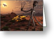 Ancient Aliens Greeting Cards - Grey Aliens At The Site Of Their Ufo Greeting Card by Mark Stevenson