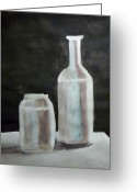 Value Greeting Cards - Grey Bottles Greeting Card by Jamie Frier
