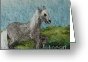 Felted Tapestries - Textiles Greeting Cards - Grey Horse Greeting Card by Nicole Besack