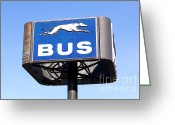 Dirty Dog Greeting Cards - Greyhound Bus Terminal Sign Greeting Card by Jannis Werner