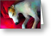 Sleeping Dog Greeting Cards - Greyhound Dog portrait  Greeting Card by Svetlana Novikova