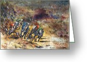 Most Painting Greeting Cards - Greyhound racing Greeting Card by Zaira Dzhaubaeva