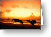 Sunset Greeting Cards - Greyhounds on beach Greeting Card by Michael Tompsett
