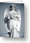 Wings Sculpture Greeting Cards - Grieving Angel on the old graveyard Greeting Card by Yurix Sardinelly