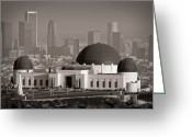 Metropolitan Greeting Cards - Griffith Observatory Greeting Card by Adam Romanowicz