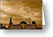 Clouds Framed Prints Greeting Cards - Griffith Observatory Greeting Card by Art Kardashian