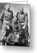 Russian Revolution Greeting Cards - Grigori Rasputin With Russian Soldiers Greeting Card by Ria Novosti