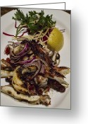 Interface Images Greeting Cards - Griiled fresh Greek Octopus Greeting Card by David Smith