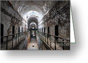 Banister Greeting Cards - Grim Cell Block in Philadelphia Eastern State Penitentiary Greeting Card by Gary Whitton