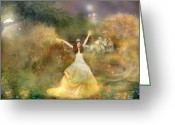 Fairy Mixed Media Greeting Cards - Grimms Fairie Cinderella  Greeting Card by Carrie Jackson