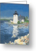 Maine Painting Greeting Cards - Grindle Point Light Greeting Card by Dominic White